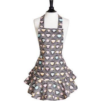 Tea Party Teacups Vintage Pinafore Style Apron