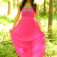 Pleat & Thank You Dress-Magenta
