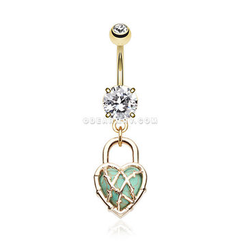 Golden Heart Lock Turquoise Belly Button Ring (Clear)
