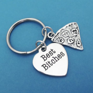Best, Bitches, Pizza, Keyring, Best, Bitch, Pizza, Keychain, Key, Ring, Friendship, Key, Chain, Best friend, Gift, Jewelry, Accessory