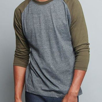 Men's Baseball T-Shirt TS900 (Charcoal/Olive) - B12C