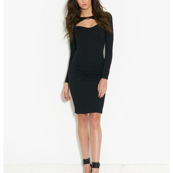 Lipsy Kardashian Kollection Cut Out Dress - long sleeve black bodycon dress with cut out detail at the neck