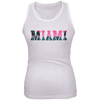 Miami Juniors White Tank Top