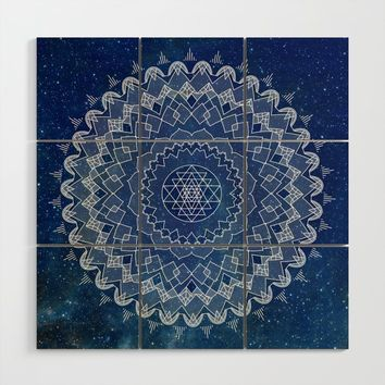 Mandala in Night Sky Wood Wall Art by colorandform