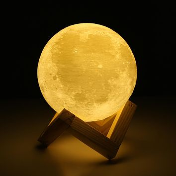 Rechargeable 3D Lights Print Moon Lamp