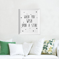 Stars Quotes Kids Poster, Nursery Print Art, Wall Picture Oil Painting Canvas Art Prints Nursery Art, Baby Room Decor No Frame