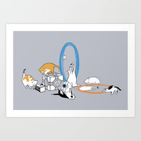 Portal Cats Art Print by Justyna Dorsz