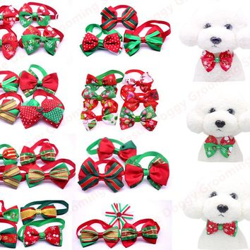 100pcs/lot Cats Dog Tie Bow Ties Wedding Accessories Dogs Bowties  Collar Holiday Decoration Christmas Grooming Pet Supplies