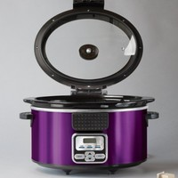 BELLA 14024 Programmable Slow Cooker with Locking Lid, 6-Quart, Purple