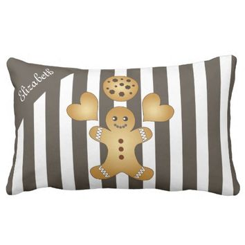 Cute Team Cookie Striped Outdoor Pillow