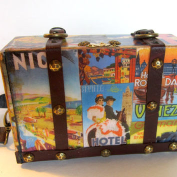 Upcycled Purse - Vintage Travel Poster Cigar Box Purse