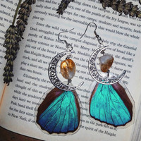 Citrine Blue Morpho Butterfly wing earrings with Moon charm