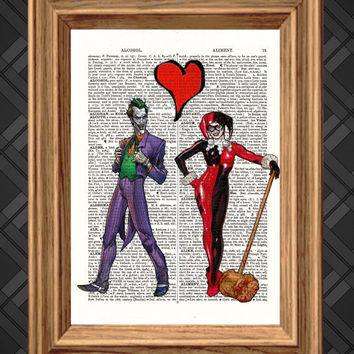 The Joker loves Harley Quinn Romantic Dictionary Art Print - Up-cycled Antique Book Art Page, Wall Decor, Wall Art , Mixed Media Collage