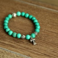 Chrome Hearts Cross Pendant Turquoise Beads Bracelet Online Store - $209.00