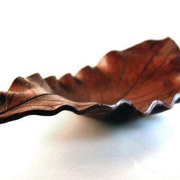 Ceramic Beech Leaf Autumn Decorative Tray - handbuilt earthenware pottery with a red brown leather like wax finish