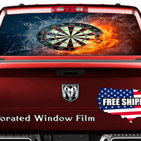 Dart Game with Flames Full Color Print Perforated Film Truck SUV Back Window Sticker Perf011