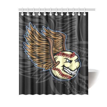 Baseball Polyester Shower Curtain 60x72 inch