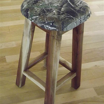 "Reclaimed wood/ real tree camo counter stool/ bar stool/ walnut/ rustic/ 25"" - 30"" H"
