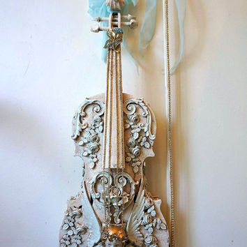 Musical violin art piece original work shabby cottage chic rose embellished violin pale blue off white French Nordic home decor anita spero