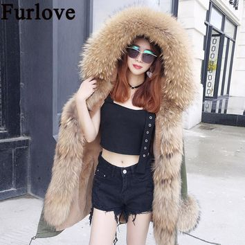 New 2017 Winter Jacket Women Coats Real Large Raccoon Fur Collar Female Parka Army Green Thick Soft Faux fur Lining Ladies