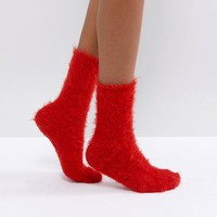 Monki Fluffy Socks at asos.com