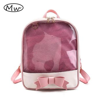 Moon Wood Brand Summer Candy Color PVC Transparent Bow Backpack Flower Zipper Women Clear Daily Backpack Girls School Bag M621