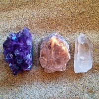 Crystal Set Amethyst Cluster and Clear Quartz and Lepidolite Crystal Stone Set Crystal Collection Healing Crystals and Stones Healing Gems