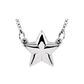 Polished Small Star Necklace in 14k White Gold, 18 Inch