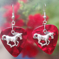 Horse Earrings, Western Guitar Pick Jewelry, Silver Dangling Rodeo Equine, Choice 12 Colors, Pierced or Clip On
