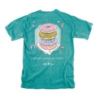 Donut Worry Be Happy Tee in Seafoam by Lily Grace