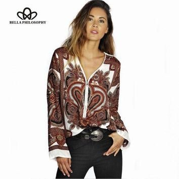 ONETOW 2015 autumn winter new ethnic flroal Paisley print long sleeve zipper V neck women shirt blouse real photo