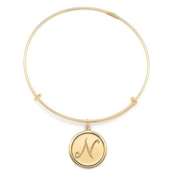 Alex and Ani Precious Initial N Charm Bangle - Gold Filled