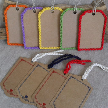 Crochet-edged Gift Tags Rectangle or Heart theme (choose set)