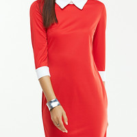 Brief 3/4 Sleeve Two Tone  Bodycon Dress