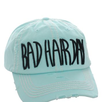 Turquoise Bad Hair Day Distressed Vintage Cap