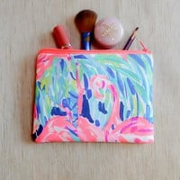 Make Up Bag/ Pencil Case/ Flamingo Pouch/ Gift for Her/ Birthday Gift/ Gift for Mom/ Sister Gift/ Best Friend Gift/ Cosmetic Bag/ Gift