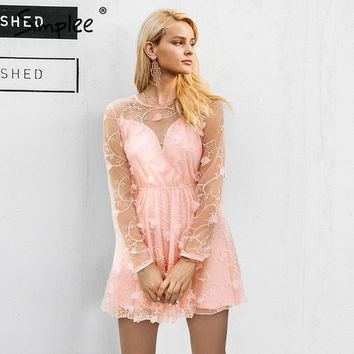 Simplee Summer mesh embroidery two piece dress women Elegant long sleeve pink dress clothing Sexy O-Neck dress female vestidos