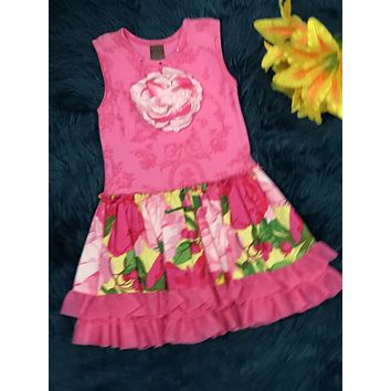 Spring Hot Pink Flower Giggle Moon Dress