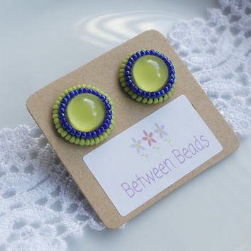 Green Apple, Neon Earrings, Stud Earrings, Summer Colorful Earrings, Large Stud Earrings, Bright, Green and Blue