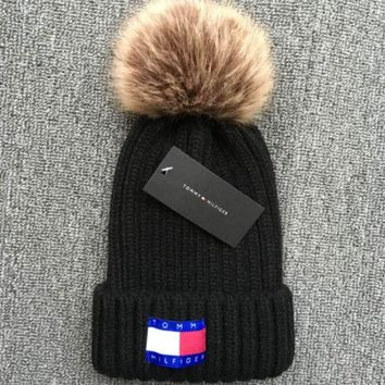 ac NOVQ2A Tommy Hilfiger 2018 new thick knit cap and qiu dong warm wool hat Black