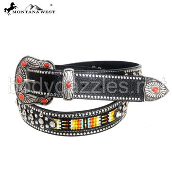 Montana West Western Aztec Hand Beaded Collection Belts Leather