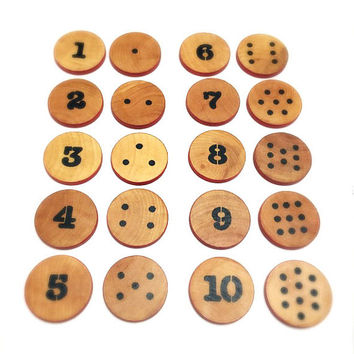 Let's Count from 1 to 10! Count-and-Match Wooden Toy for Children / Educational Montessori Toy / Kids Wooden Eco Friendly Handmade Toy