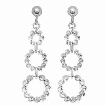 Silver with Rhodium Finish Shiny Diamond Cut 3 Graduated Beaded Circle Drop Earring