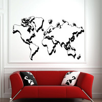Wall Decal World Map Vinyl Sticker Travel Geographical Vinyl Design Geography Gift Living Room Office Bedroom Home Decor Wall Art 0035