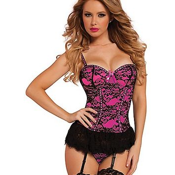 Victorian Lace Bustier and Thong Set- Pink - Spencer's