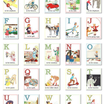 "Digital retro ABC flashcards / alphabet flash cards/ 3"" by 4.2"" / downloadable / printable"