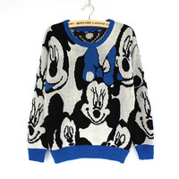 Women's Fashion Mouse Butterfly Cartoons Winter Round-neck Pullover Knit Tops Sweater [8216403137]