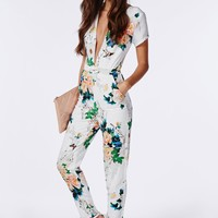 Missguided - Floral Plunge Jumpsuit White
