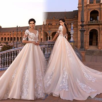 Vestido De Noiva Lace Gelinlik Elegant A-line Wedding Dresses Boat Neck Half Sleeves Appliqued Tulle Bridal Gowns 2017