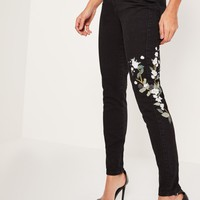 Missguided - Black Riot High Rise Embroided Ripped Mom Jeans